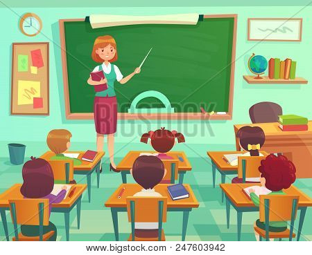 Classroom With Kids. Teacher Or Professor Teaches Students In First Grade Elementary School Class Or