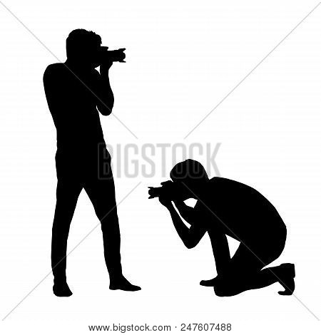 Set Silhouettes Man Photographing With A Camera Isolated On White Background Vectorset Silhouettes M