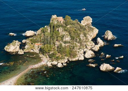 Little Peninsula, Isola Bella, People At The Beach, Small Boats Around, Blue Sea In Taormina, Sicily