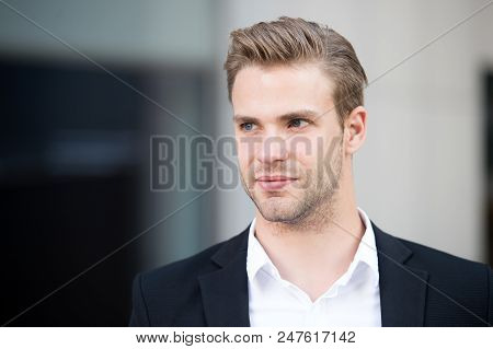 Man With Trendy Hairstyle. Used To Look Perfect. Confident Buisnessman In Formal Wear. This Is My Ci