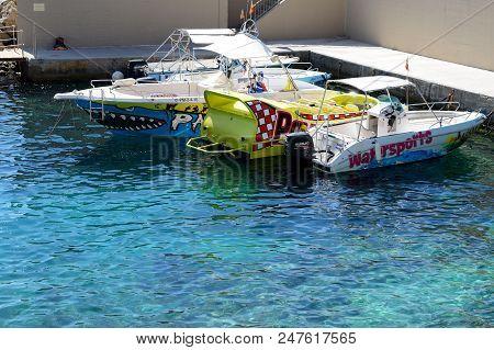 Mallorca, Spain - May 29: The Water Sports Motor Boats Are Near  Beach On May 29, 2015 In Mallorca,