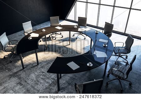 Top View On Conference Table In Modern Meeting Office Room. 3d Render