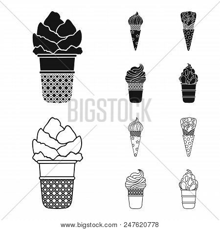 Ice Cream On A Stick, In A Waffle Cone And Other Species. Ice Cream Set Collection Icons In Black, O