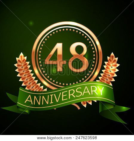 Realistic Forty Eight Years Anniversary Celebration Design With Golden Ring And Laurel Wreath, Green