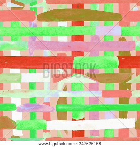 Bauhaus pattern. Green geometric watercolor abstract seamless print. Watercolour stripe background. Kaleidoscope cross. Contemporary art illustration. Bauhaus graphic design. Trendy texture poster