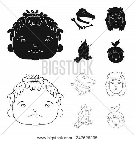Woman, Hair, Face, Bonfire .stone Age Set Collection Icons In Black, Outline Style Vector Symbol Sto