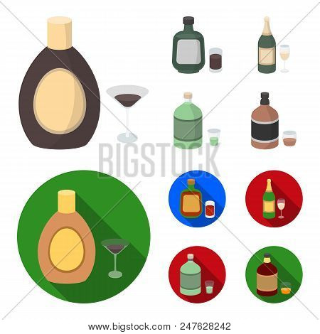 Liquor Chocolate, Champagne, Absinthe, Herbal Liqueur.alcohol Set Collection Icons In Cartoon, Flat