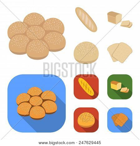 Cut Loaf, Bread Roll With Powder, Half Of Bread, Baking.bread Set Collection Icons In Cartoon, Flat