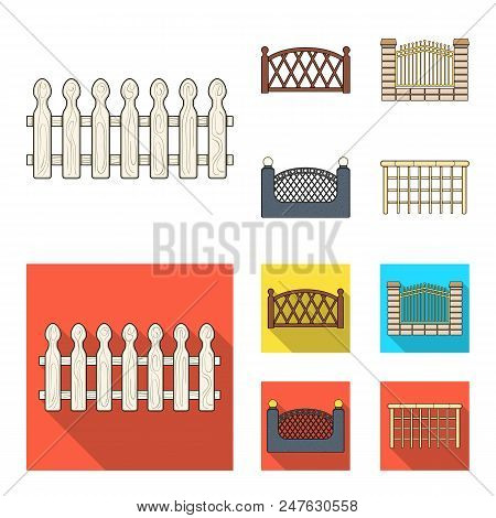 A Fence Of Metal And Bricks, Wooden Palisade. A Different Fence Set Collection Icons In Cartoon, Fla