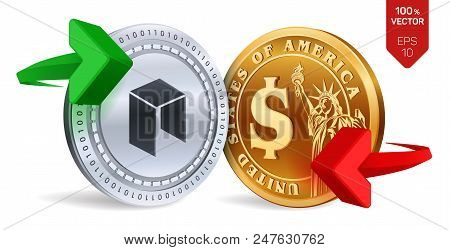 Neo To Dollar Currency Exchange. Neo. Dollar Coin. Cryptocurrency. Golden And Silver Coins With Neo