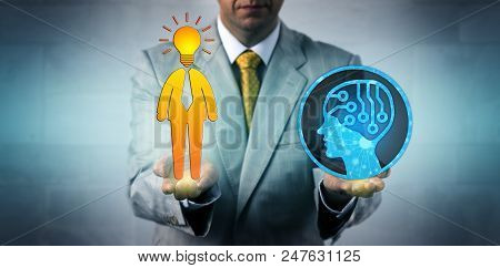 Unrecognizable Business Manager Balancing Out Artificial Intelligence And A Bright Human Employee. B