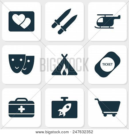 Tourism Icons Set With Swords, Picture, Tent With Fire And Other Weapon Elements. Isolated  Illustra