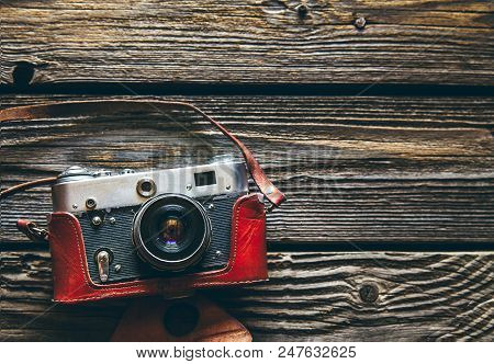 Retro Camera On Wood Table Background, Vintage Color Tone A