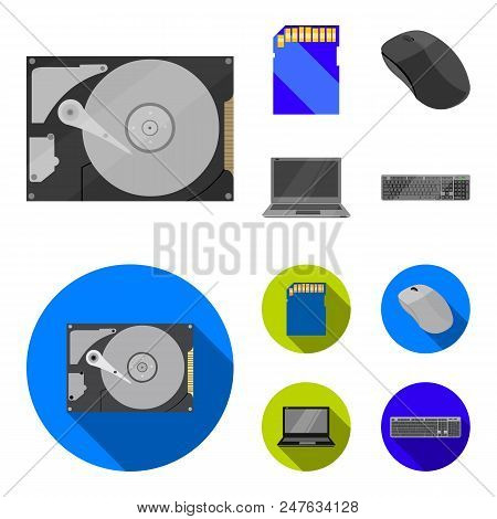 Computer Mouse, Laptop And Other Equipment. Personal Computervset Collection Icons In Cartoon, Flat