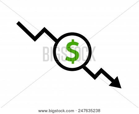 Cost Reduction Icon Dollar. Price Decrease Arrow Symbol. Business Sale Sign Illustration.