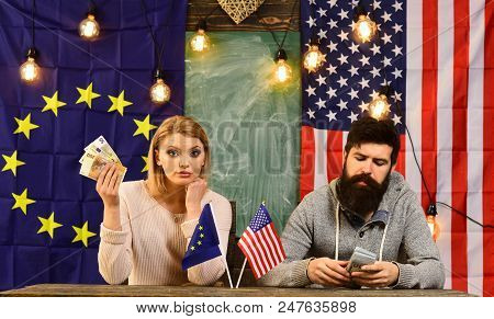 Economic Partnership And Finance. Economic Relations Of Usa And European Union With Couple Holf Mone