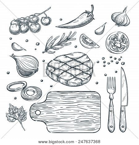 Cooking meat steak, vector sketch illustration. Set of isolated hand drawn food ingredient, vegetables, spices. Restaurant, steak house menu design elements