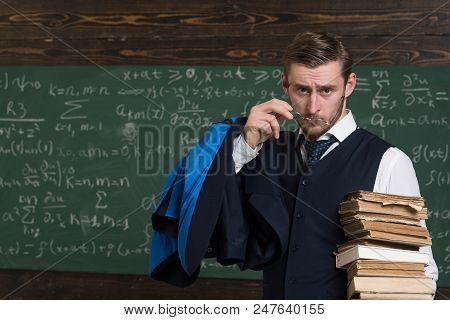 Are You Serious Teacher Formal Wear And Glasses Looks Suspicious, Chalkboard Background. Chalkboard