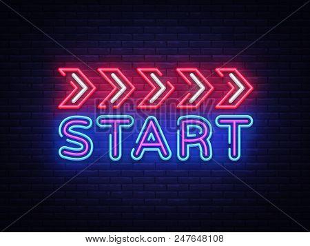 Start Neon Sign Vector Design Template. Start Race Neon Text, Light Banner Design Element Colorful M