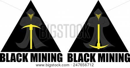 Miner Crypto Currency In The Triangle Black Miner Creative Minimalist Logo