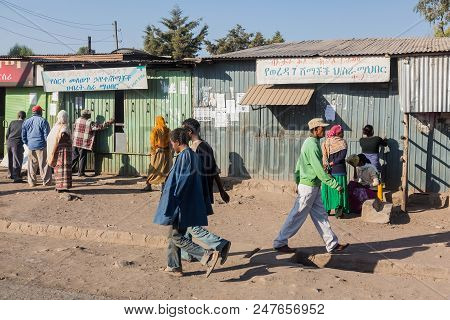 Addis Ababa, Ethiopia, January 30, 2014, Informal Shop Owners Opening Their Stores For Business As P