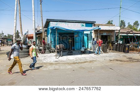 Addis Ababa, Ethiopia, January 30, 2014, Small Informal Shops On The Side Of The Road On The Outskir