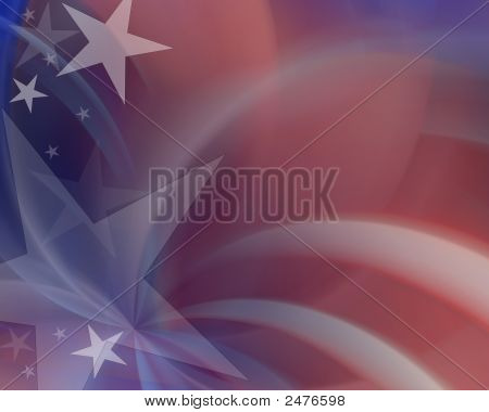 Colorful red white & blue background with shooting stars poster