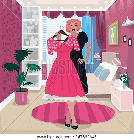 Girl In Black Dress Hold Pink Dress. Happy Young Woman Trying On New Dress In Her Pink Bedroom. Expr