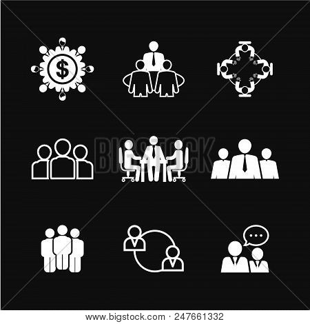 Business Meeting Icon Vector Illustration Isolated Badge For Website Or App, Stock Infographic.