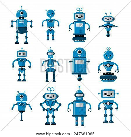 Set Of Vector Robots In Cartoon Style. Cute Cartoon Robotic Character Artificial Intelligence - Conc