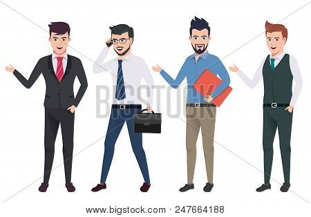 Business Man Vector Characters Set With Professional Male Office And Sales Person Wearing Business A