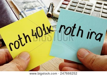 Man holding sticks with roth 401k vs roth ira. Retirement. poster