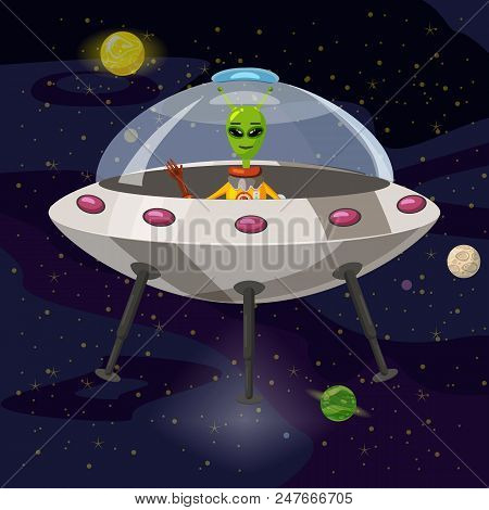 Cartoon Alien In Flying Saucer, Ufo, Vector