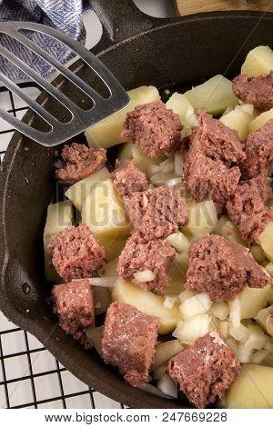 Very Irish Meal, Raw Corned Beef Hash In A Cast Iron Pan