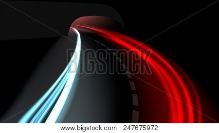 Long Exposure Vehicles Light Trails On Freeway. Eps10 Vector