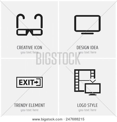 Set Of 4 Editable Cinema Icons. Includes Symbols Such As Computer Screen, Exit, Telly And More. Can