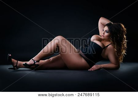 Plus Size Sexy Model In Swimsuit, Fat Woman On Black Studio Background, Overweight Female Body, Full