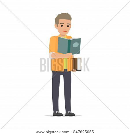 Young Man Reading Textbook. Brown-haired Male Student Standing With Open Book In Hands Flat Vector I
