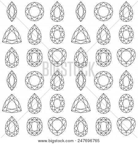 Monochrome Seamless Pattern With Gemstones, Mineral Crystals, Precious Natural Stones With Black Con