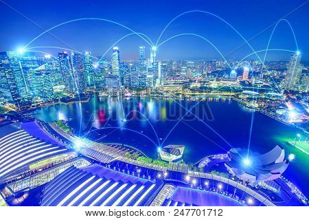 The Concept Of Digital Wifi Connection And Virtual Connectivity In 5g Between Companies Of A City. T