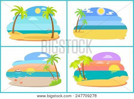 Seaside And Beach Collection Of Images With Palm Trees And Sun, Water And Sand, Starfish And Ship, S