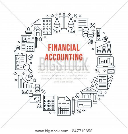 Financial Accounting Circle Poster With Flat Line Icons. Bookkeeping Brochure Concept, Tax Optimizat