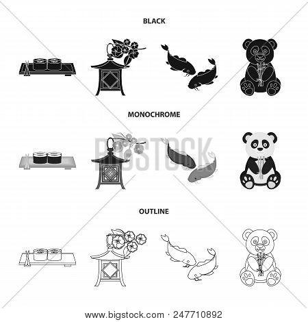 Sushi, Koi Fish, Japanese Lantern, Panda.japan Set Collection Icons In Black, Monochrome, Outline St