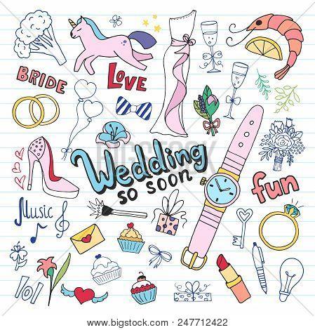 Wedding Doodle Set. Hand Drawn Illustration In Vector.