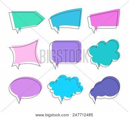 Speech Bubbles Of Different Shapes. Vector Set.