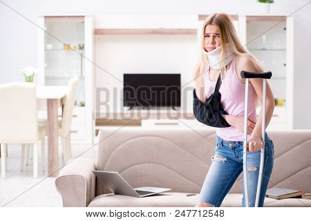 Injured woman recovering at home poster