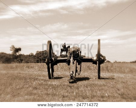 Civil War Cannon With Monument; Hue Added