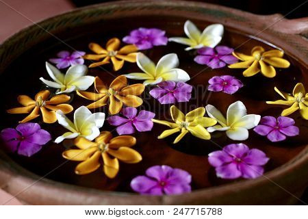 Clay Bowl With Floating Flowers As A Blessing In Asia
