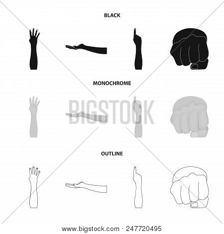 Sign Language Black, Monochrome, Outline Icons In Set Collection For Design.emotional Part Of Commun