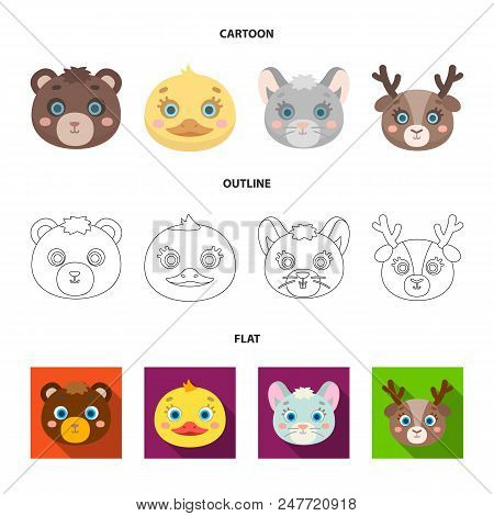 Bear, Duck, Mouse, Deer. Animal Muzzle Set Collection Icons In Cartoon, Outline, Flat Style Vector S